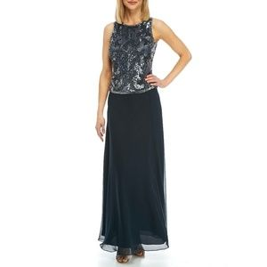 23127bf0a79 J KARA Sequined Beaded Popover Gown Dress